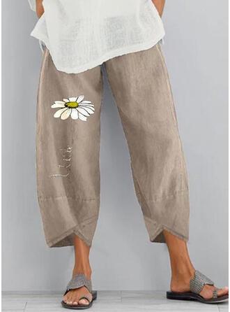 Print Pockets Shirred Plus Size Boho Casual Floral Pants