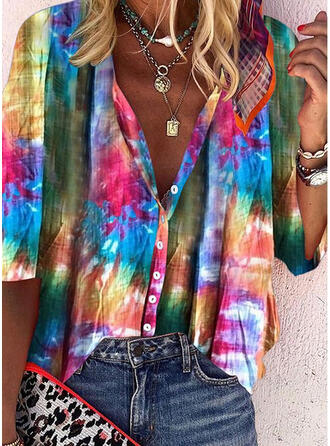 Tie Dye V-Neck 3/4 Sleeves Button Up Casual Blouses