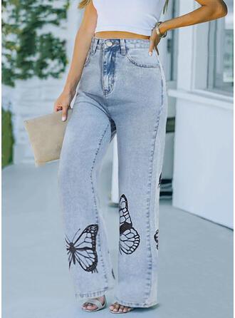 Imprimeu kelebek Uzun gündelik Pocket Pantolonlar