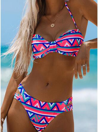 Цветочный недоуздок V шеи сексуальный богемский Повседневная Bikinis купальников