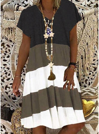 Fargeblokk Kortermer Kvinnedrakt Knelengde Casual T-skjorte Kjoler
