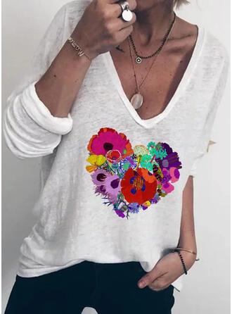 Floral Heart Print V-Neck Long Sleeves T-shirts