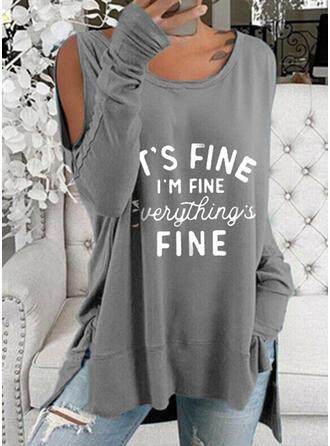 Imprimeu Literă Soğuk omuz Mâneci Lungi Tişörtler