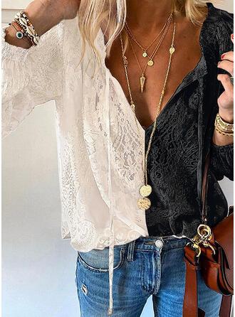 Цветной блок кружевной V шеи Длинные рукова элегантный Блузы