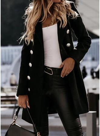 Mâneci Lungi Solid Ceketler