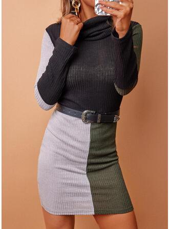 Imprimeu/Renkli klişe Mâneci Lungi Manşon Deasupra Genunchiului gündelik Elbiseler