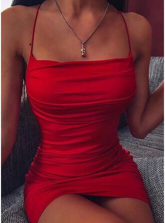 Sólido Sin mangas Ajustado Sobre la Rodilla Sexy/Fiesta Camisón Vestidos