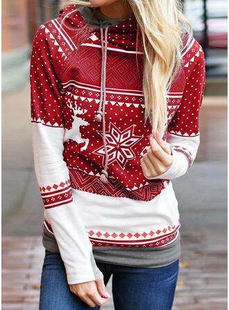Cotton Polyester Print Christmas Christmas Sweatshirt