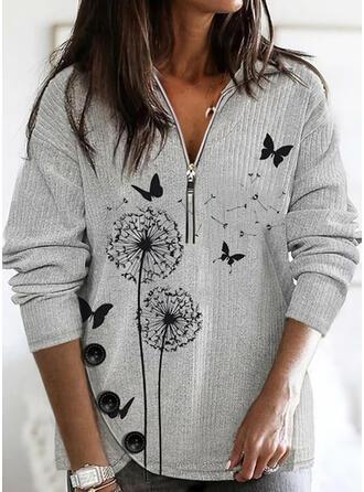 Animal-Print Revers Freizeit Pullover