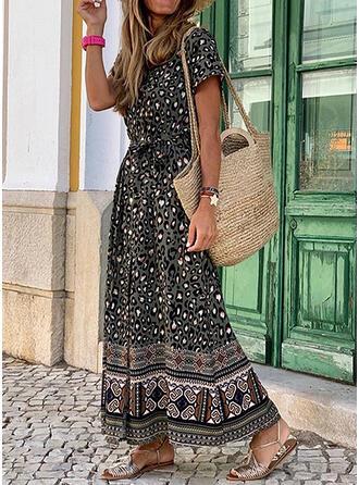 Print/Leopard Short Sleeves A-line Skater Casual/Boho/Vacation Maxi Dresses