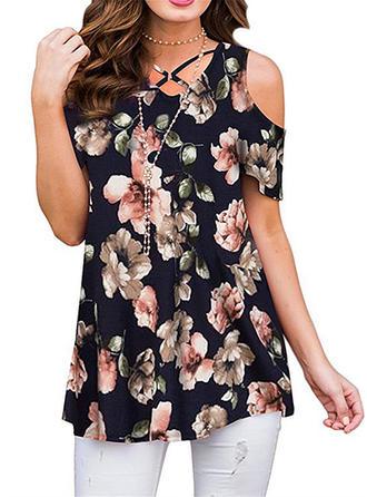 Цветочный Холодный прием С коротким рукавом Повседневная элегантный Блузы