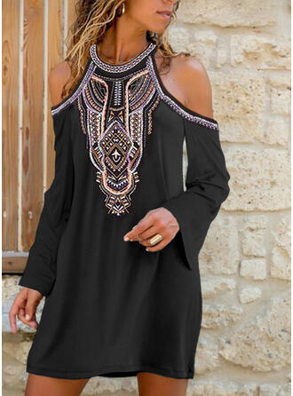 Print Long Sleeves/Cold Shoulder Sleeve Shift Knee Length Casual Dresses