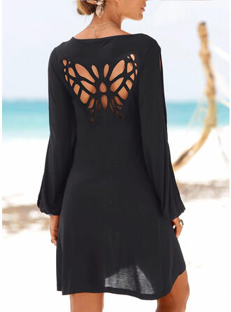 Solid Long Sleeves/Cold Shoulder Sleeve Shift Above Knee Little Black/Casual/Vacation Dresses