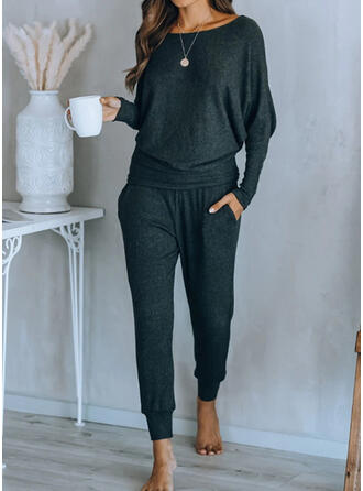 Solid Shirred Casual Sporty Suits