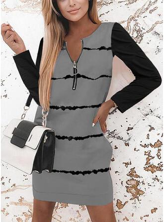 Imprimeu/Renkli klişe Mâneci Lungi Shift Elbiseleri Deasupra Genunchiului gündelik Tunică Elbiseler