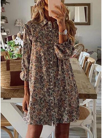 Print Long Sleeves/Puff Sleeves Shift Above Knee Casual Tunic Dresses