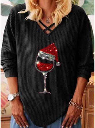 Распечатать Блестки V шеи Длинные рукова Повседневная рождество Вязание Блузы