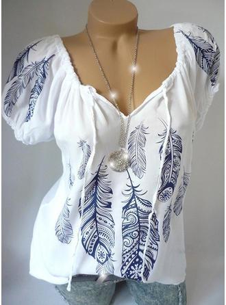 Распечатать V шеи С коротким рукавом Повседневная элегантный Блузы