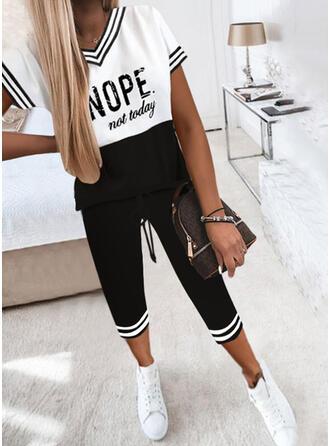 Pruhované Color Block Tisk Dopis Neformální Plus velikost handsstring Dvoudílné outfity