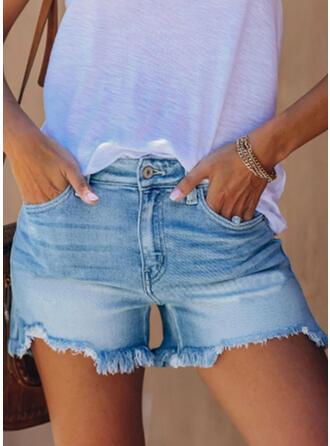 Ciucure Simplu Pantaloni scurti Blugi denim