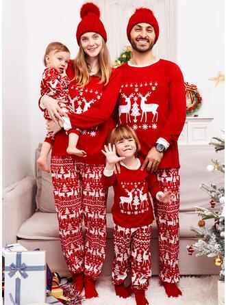 Ren Geyiği Literă Aile Eşleşen Noel Pijamaları