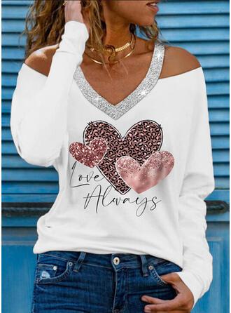 leopar Kalp Imprimeu Literă Payetler Soğuk omuz Mâneci Lungi Tişörtler
