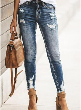 Plus Size Ripped Long Elegant Sexy Denim & Jeans