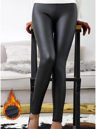 Solid Pluss størrelse Sexy Lær Årgang stretchy leggings