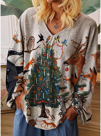 Estampado Animal Cuello en V Manga Larga Casual Navidad Camisetas
