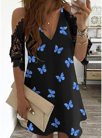 Lace/Animal Print 1/2 Sleeves/Cold Shoulder Sleeve Shift Above Knee Casual Dresses