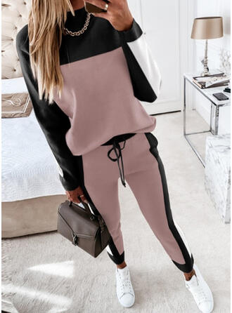 Patchwork Plus Size Drawstring Casual Sporty Suits