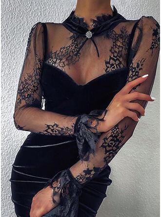 Encaje/Sólido Manga Larga Ajustado Sobre la Rodilla Pequeños Negros/Fiesta Vestidos