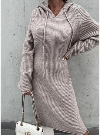 Solid Mâneci Lungi raglan kılıfı gündelik Elbiseler