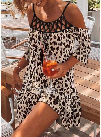 Leopard Trekvart ermer Kvinnedrakt Overknee Casual Tunika Kjoler