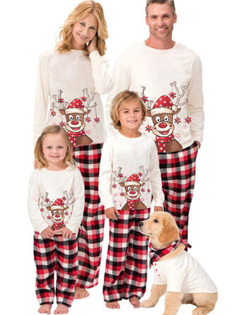 Reinsdyr Plaid Cartoon Familie matchende Jule Pyjamas