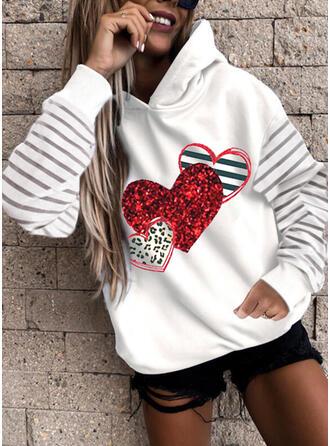 Estampado Listra Leopardo Coração Manga Comprida Hoodie