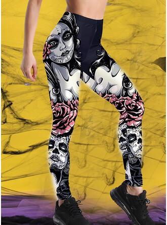 Trykk Pluss størrelse Halloween Lang Avslappet Sportslig Yoga leggings