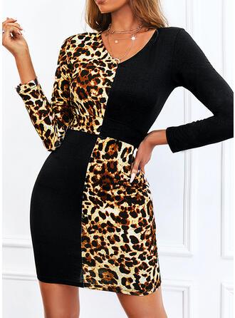 Imprimeu/Renkli klişe/leopar Mâneci Lungi Manşon Deasupra Genunchiului gündelik Elbiseler
