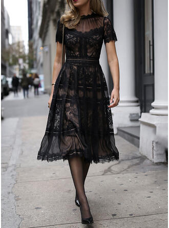 Lace/Solid Short Sleeves A-line Little Black/Party Midi Dresses
