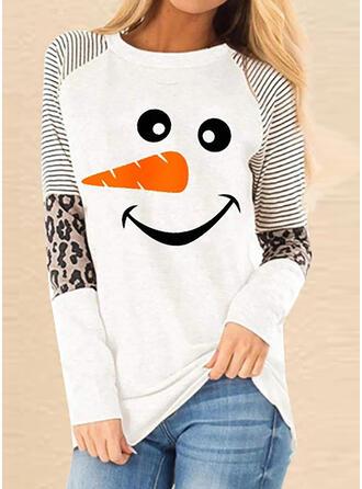 Impresión Rayado Leopardo Cuello redondo Manga Larga Casual Navidad Camisetas