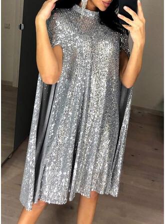Sequins Long Sleeves Shift Knee Length Party/Elegant Dresses