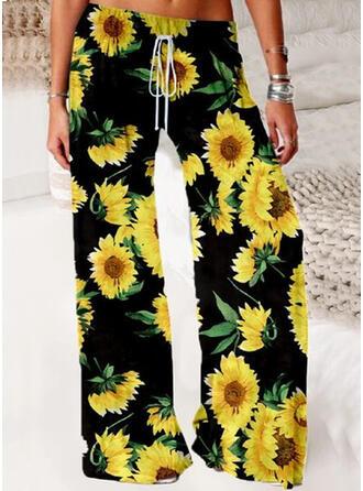 Ayçiçeği Baskısı Uzun gündelik Pantolonlar