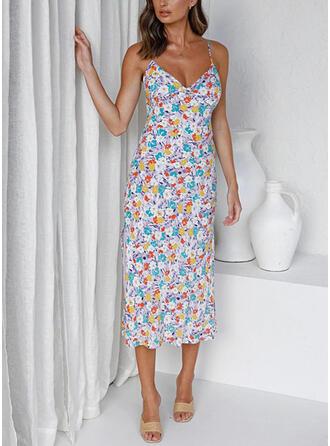 Nadrukowana/Kwiatowy/Bez pleców Bez rękawów Pokrowiec Halka Casual Midi Sukienki