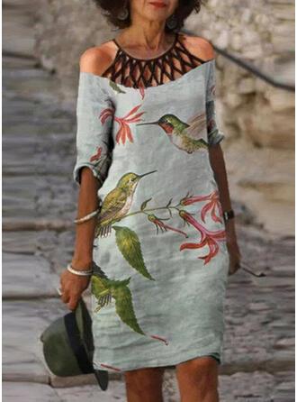 Tisk/Květiny/Zvíře 1/2 rukávy Cold Ramen Sleeve Šaty Shift Nad kolena Neformální Tunika Šaty