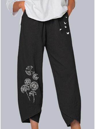 Imprimeu Karahindiba Hayvan kelebek Kırpılmış gündelik Pocket Pantolonlar Lounge Pantolon
