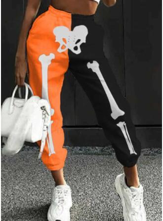 Renkli klişe Imprimeu skull head Uzun gündelik Sportif Büzgülü Pantolonlar