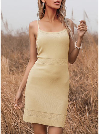 Solid Sleeveless Sheath Above Knee Casual Slip Dresses