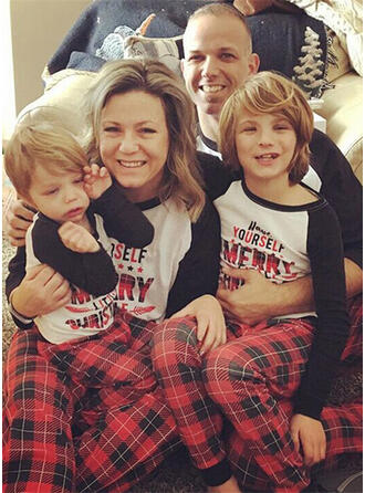 Color-block Plaid Family Matching Christmas Pajamas Pajamas