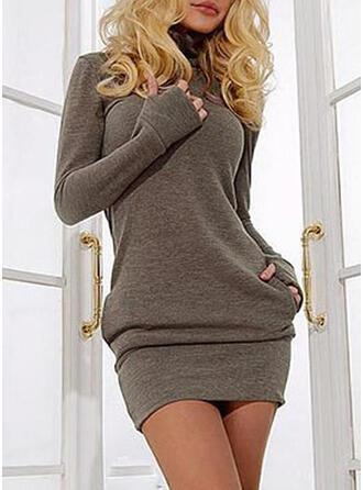 Solid Cep Helancă Guler Înalt Rochie pulover
