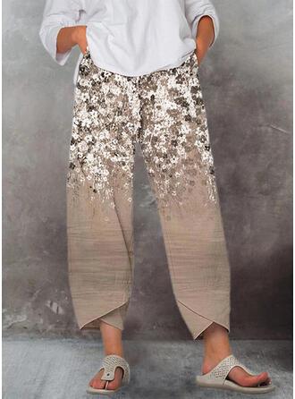 Floral Imprimeu Kırpılmış gündelik Pantolonlar